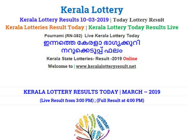 Kerala Lottery Result Today: Pournami RN-382 Today lottery